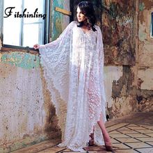 Fitshinling Backless grobe wrap swimwear transparent sexy hot lace long dress beach boho batwing sleeve cape pareos women sale