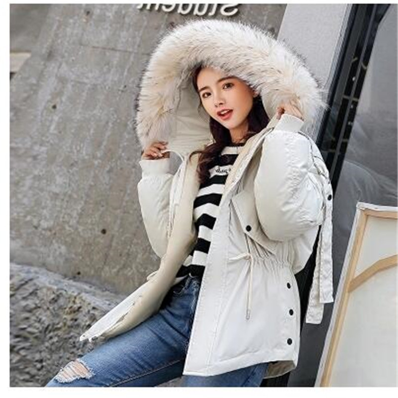 INS 2018 new Women's padded cotton dress long-length loose fit a-word waist-long hairy collar fashion hooded jacket