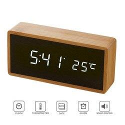 Бамбук деревянные зеркало будильники Температура звуки Управление настольные часы с цифровые часы электронные светодио дный декоративные...