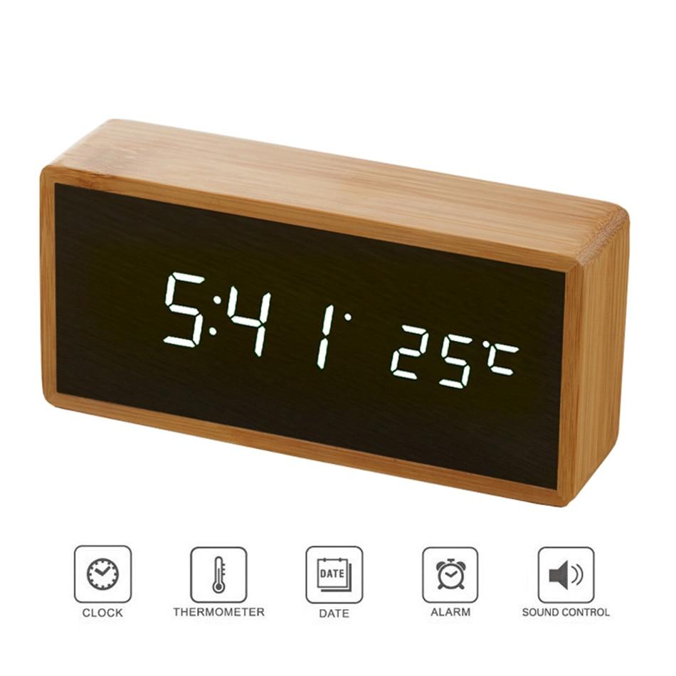 Bamboo Picket Mirror Alarm Clocks Temperature Sounds Management Desktop Clock With Digital Watch Digital Led Clocks Despertador