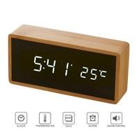 Bamboo Wooden Mirror Alarm Clocks Temperature Sounds Control Desktop Clock With Digital Watch Electronic LED Clocks Despertador