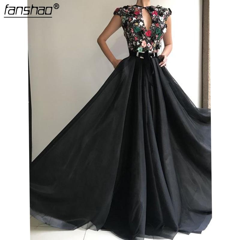 Black Muslim Evening Dress  Lace A-Line Flowers Beads Islamic Dubai Saudi Arabic Long Elegant Evening Gown Long Prom Dress