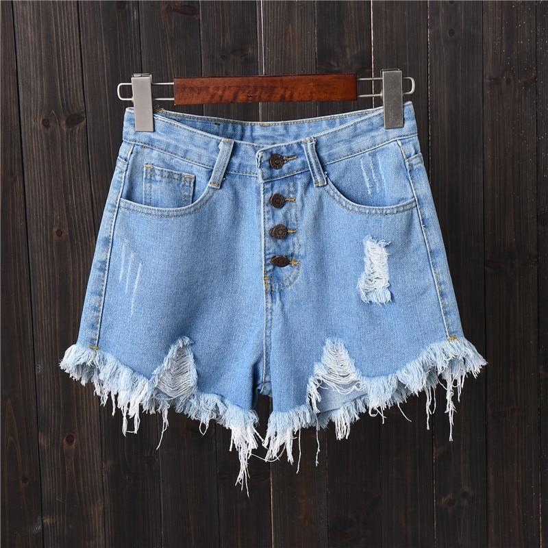 New Hot Sexy High Waist Breasted Bodycon Denim Ripped Hole Short Jeans Mini Shorts Plus Size S M L XL XXL 3XL 4XL 5XL 6XL