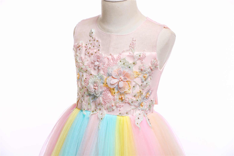 d3dc414a9a2d ... Flower Girls Unicorn Tutu Dress Pastel Rainbow Dresses Girls Birthday  Party Dress Children Kids Halloween Unicorn ...