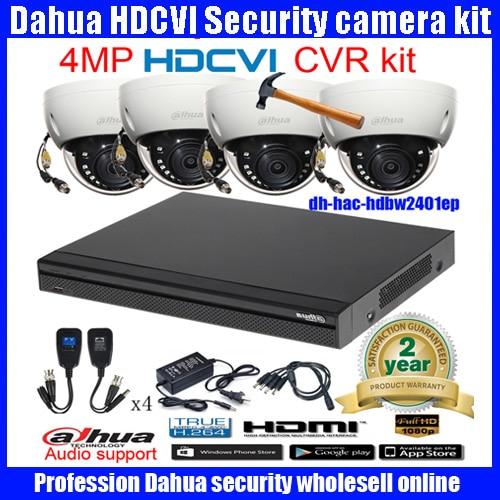 Original English DAHUA 4MP VANDALPROOF CAMERA HAC HDBW2401EP cvi dome camera with 4MP Digital CVR DHI