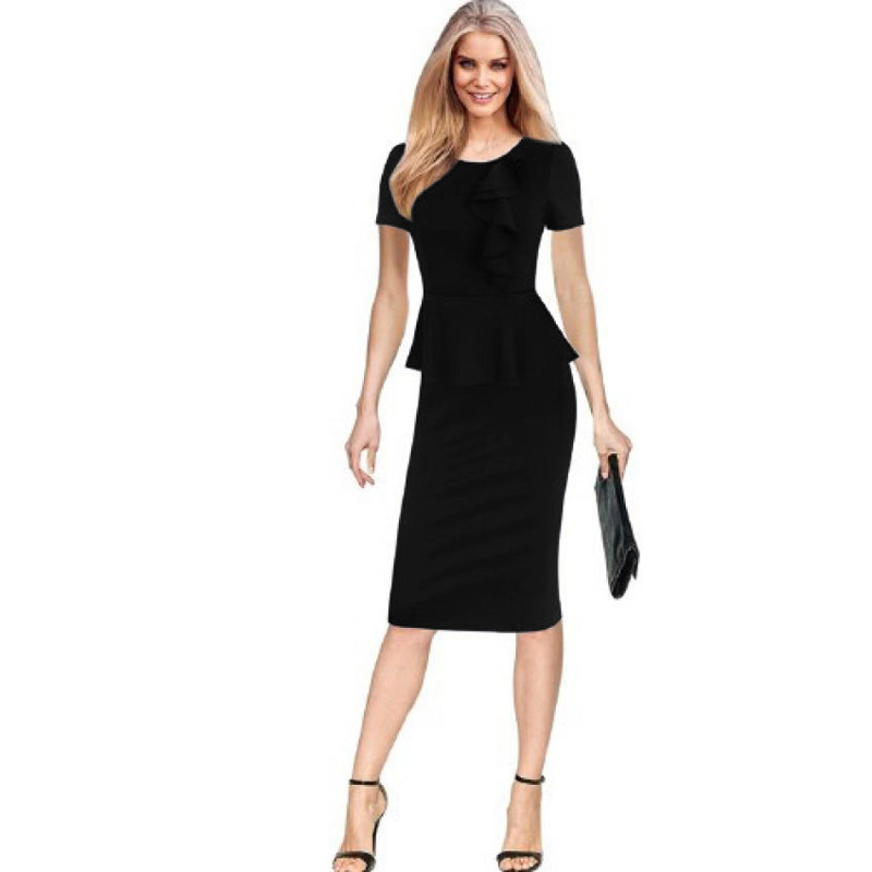 Company Womenu0026#39;s Juniors Night Out Short Sleeve Dress Business Fitted Casual Peplum Bodycon Black ...