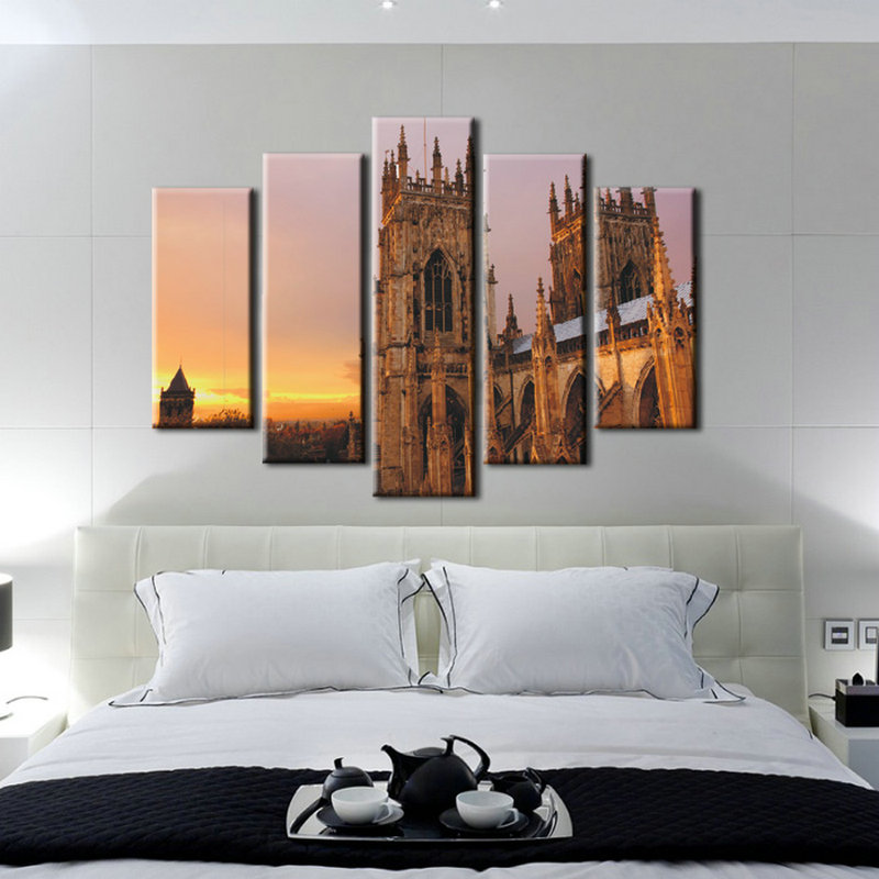 5 Panel Building Oil Painting Reproduction From China Abstract Wall Art For Home Decoration