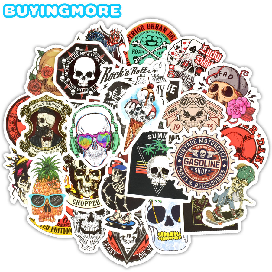 50 PCS Skull Stickers Graffiti Skeleton Ghost Punk Rock Motorcycle Sticker Toys DIY Laptop Skateboard Suitcase Helmet Guitar Car