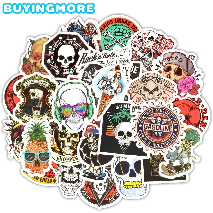 50 PCS Skull Stickers Graffiti Skeleton Ghost Punk Rock Motorcycle Sticker Toys DIY Laptop Skateboard Suitcase Helmet Guitar Car