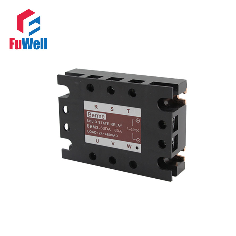3-phase Solid State Relay SSR DC-AC 60DA high quality dc to ac solid state relay ssr 60da 60a 4 32v 75 480v aluminium heat sink