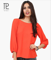 Women Chiffon Blouses Floral Shirts Summer Backless Blouse Long Sleeve Solid Chiffon Fabric Brand Plus Size