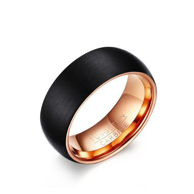 Tungsten Steel European Popular Jewelry Wholesale 8MM Ring For Men Black Rose Gold Factory