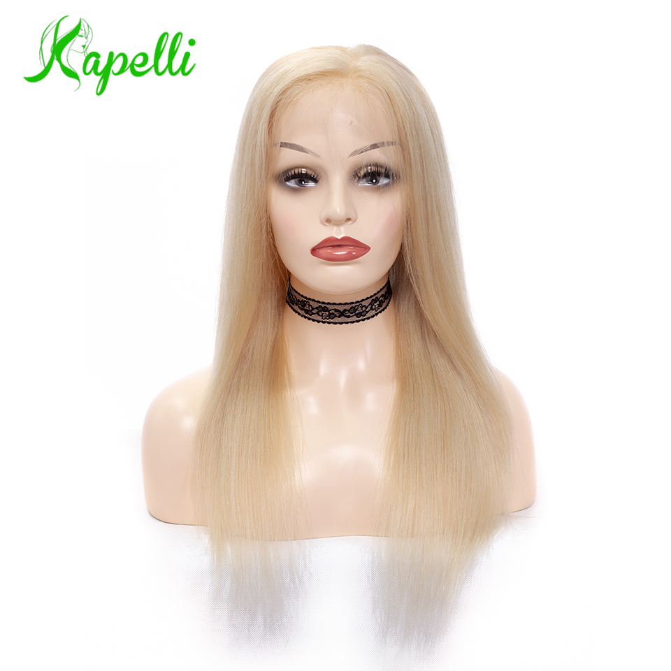 Full Lace Wig 150% Density Blonde 613 Silky Straight Preplucked Hairline Full Lace Human Hair Wigs100% Brazilian Human Remy Hair