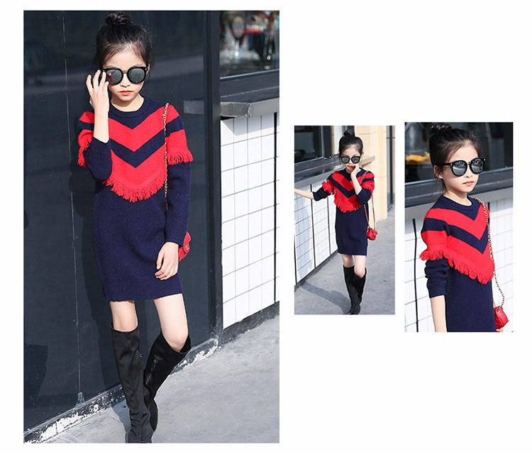 2017 new knitting tassels girls sweater spring autumn winter casual children school clothing preppy style knitted kids sweaters girls dresses 6 7 8 9 10 11 12 13 14 15 16 years old little teenage big girls long sweater dress (15)