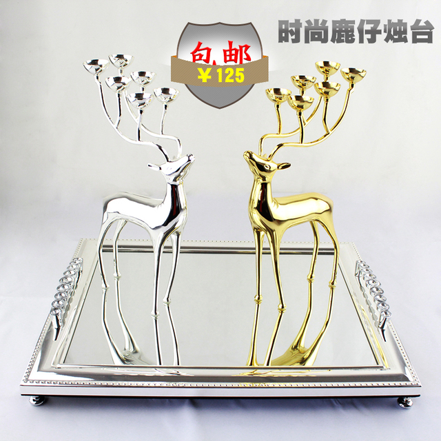 Home Furnishing Soft Loading Model Of The Housing Decoration Decoration Metal Deer Head Tray Glass Candle
