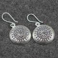 Thailand Mai silver handmade folk style to create features beautiful carved S925 sterling silver earrings wholesale Ms.