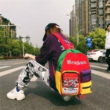 Menghuo Women Backpacks School Daypack Panelled Shoulder Bags College for Girls Bookbag Female