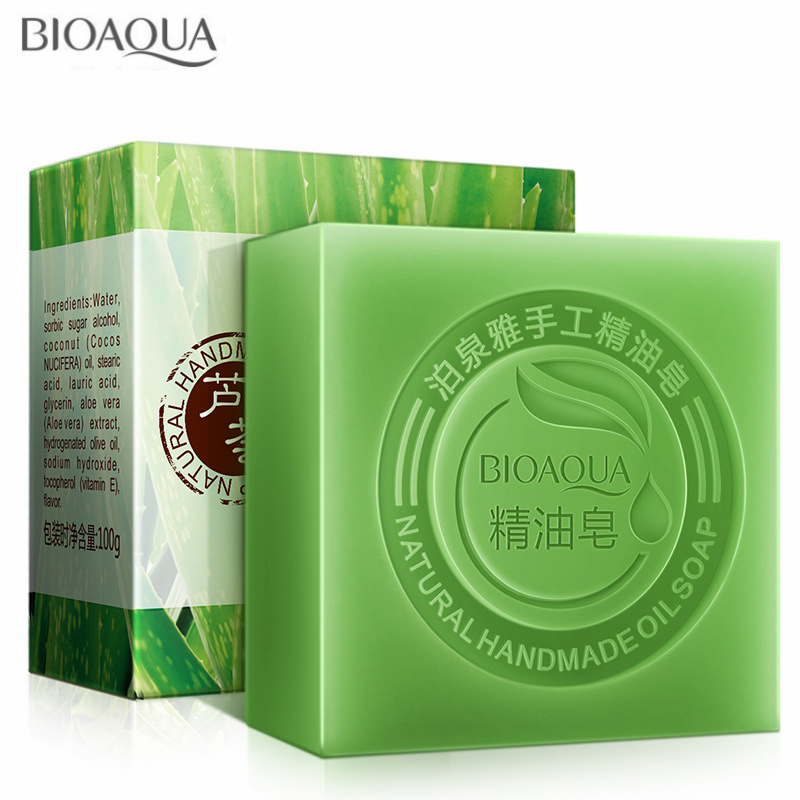 1PCS BIOAQUA Aloe Vera Handmade Oil Soap Skin Whitening Soap Blackhead Remover Acne Treatment Face Wash Hair Care Bath Skin Care