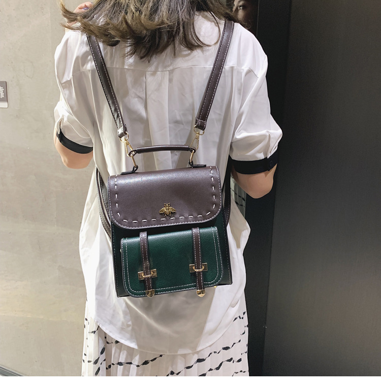 DUBKART intage Pu Leather Women Backpack Simple Preppy Style Famous College