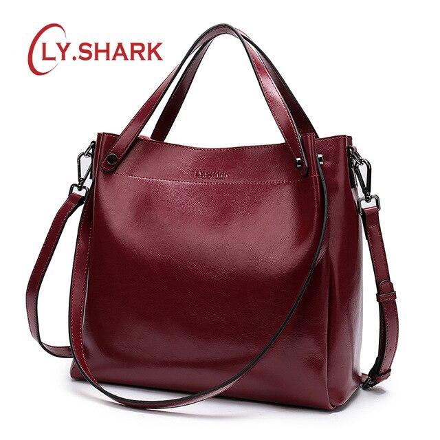 ¡LY! tiburón de bolso de mujer de cuero genuino de las señoras bolsas para las mujeres 2019 bolso mensajero bolsa mujeres hombro bolso mujer Bolso grande rojo