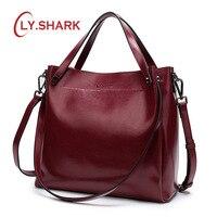 LY.SHARK Female Bag Ladies Genuine Leather Bags For Women 2019 Crossbody Messenger Bag Women Shoulder Bag Women Handbag Red Big