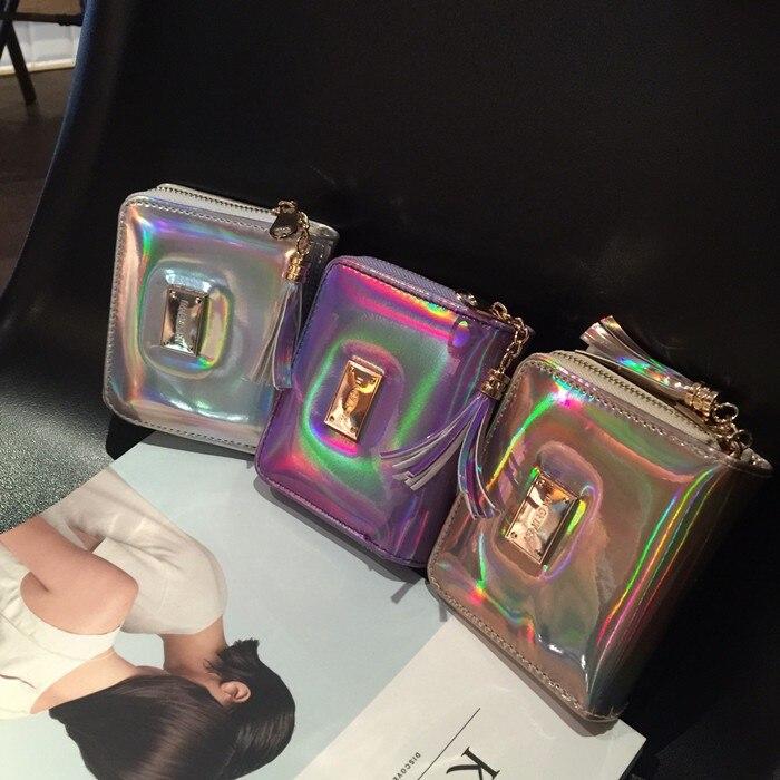 2019 Väskor för nya kvinnor Hologram Liten kopplingväska med Tassel kvinnlig laser silverväska myntväska väska Shinning