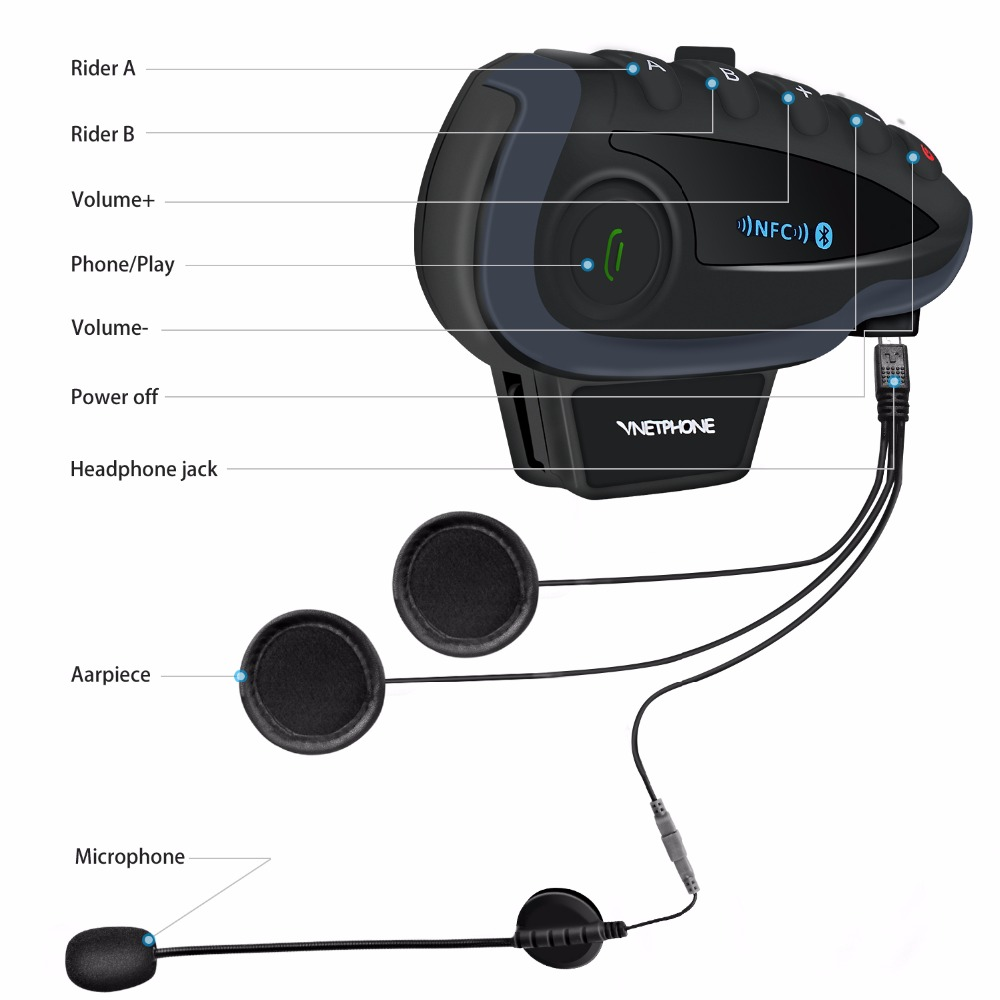Image 2 - 2PCS 5 Riders V8 Bluetooth Intercom Moto Helmet NFC Motorcycle  Handlebar Remote Control Communicator Helmet Headset with FM  radioHelmet Headsets   -