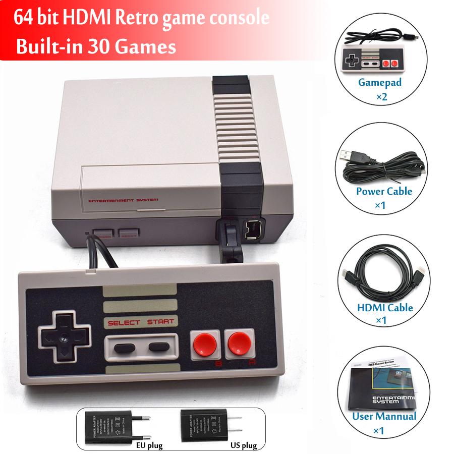 где купить 64 bit HDMI Output Retro Classic Mini Handheld Game Player Family TV Video Game Console Childhood Built-in 30 Games mini Console по лучшей цене