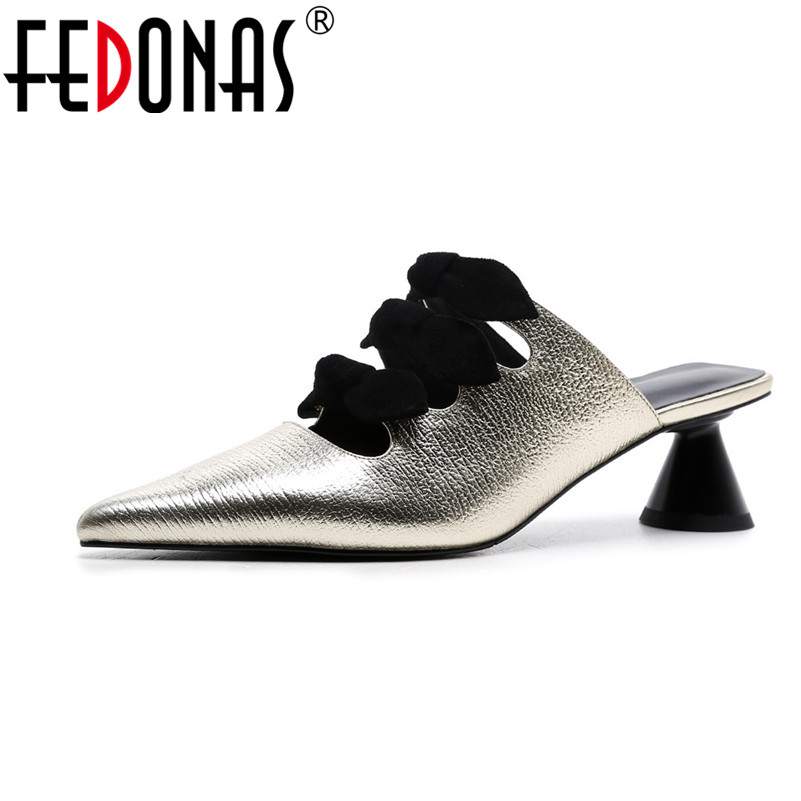 FEDONAS 2018 Women's High Heels Pumps Genuine Leather Shoes Sexy Pointed Toe Party Wedding Shoes Woman Retro New Pumps fedonas top quality women bowtie pumps genuine leather ladies shoes woman sexy high heels party wedding shoes pointed toe pumps