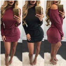 Neue Mode Sexy Langarm Schulter Verband Einfarbig Frauen Abend Party Culb Mini Gerade Kleid