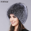 FURTALK Natural Fox Fur Hat Winter Women Fur Hat Silver Fox Fur High Quality Luxury  White Fox Fur Hat
