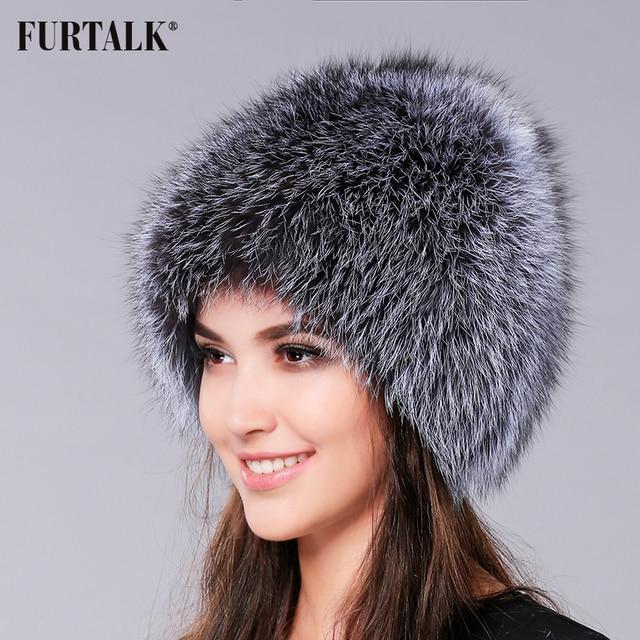 e7916ff4644a7 FURTALK Natural Fox Fur Hat Winter Women Fur Hat Silver Fox Fur High  Quality Luxury White Fox Fur Hat