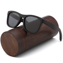 Gafas de sol polarizadas Retro para hombre y mujer, lentes de sol de madera negra para niños y parejas, hechas a mano con UV400 y caja de madera de bambú