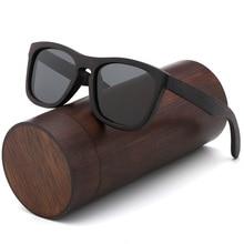 Lunettes de soleil rétro polarisées en bois noir, UV400, faites à la main pour les Couples avec boîte en bois bambou