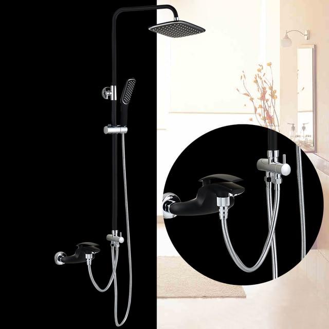 Bakala Luxury Colorful Bathroom Rain Black Shower Faucets Set With Hand Br