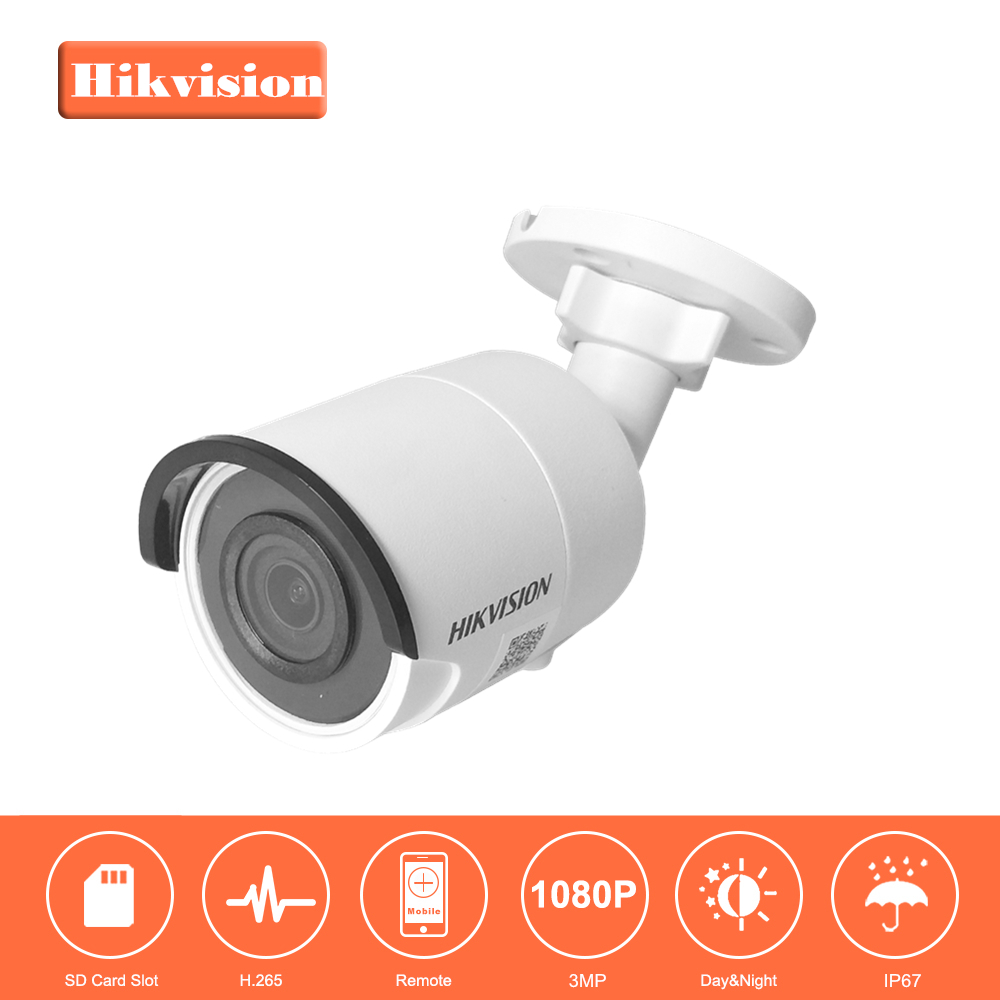 HIKVISION CCTV Camera H.265 IP Camera DS-2CD2035FWD-I 3Megapixels Ultra-Low Light Network Bullet Camera with IR Night Version hikvision ultra low light ds 2cd3t26wd i5 2mp cctv h 265 ip bullet camera support onvif poe ir 50m waterproof outdoor