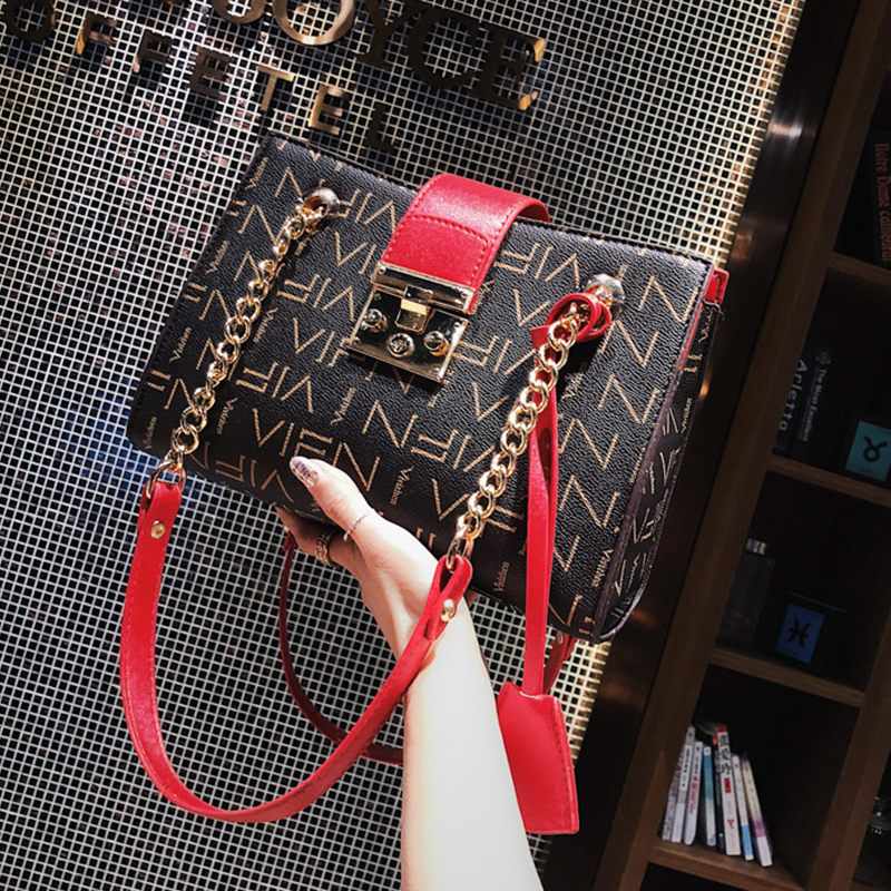 2018 New Female bag Women PU Leather Handbag Fashion Chain Shoulder Bag Printing Vintage Letter Casual Tote Lady Korean Bag 2018 new style genuine leather woman handbag vintage metal ring cloe shoulder bag ladies casual tote fashion chain crossbody bag