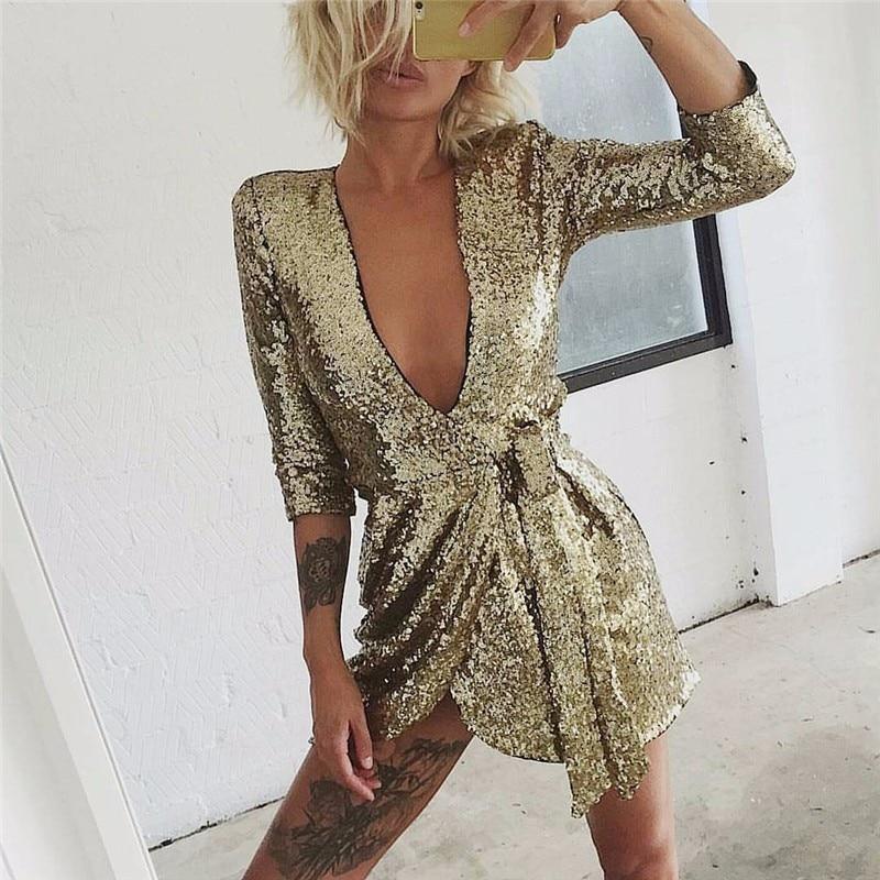 Ohvera 2018 Wrap Sexy Dress Women Half Sleeve Autumn Dress Elegant Gold Black Mini Sequin Party Dresses 2018 Vestidos Women's Clothing