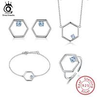 ORSA JEWELS Solid 925 Silver Women Set Sterling Jewelry Sets Genuine Blue Topaz Female Engagement Wedding Jewelry Gift VS01