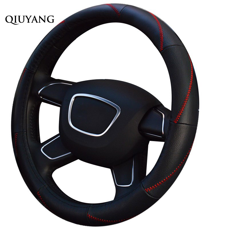QIUYANG Universal For SCIROCCO Cartoon Handlebar Leather Steering Wheel Cover Braid For TOURAN Women For PAJERO 38cm / 15inch