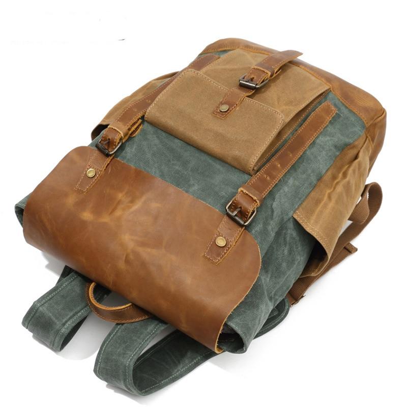 Retro Contrast Oil Wax Waterproof Canvas Bag Travel Backpack Computer Schoolbag Large Capacity Women Backpack 8