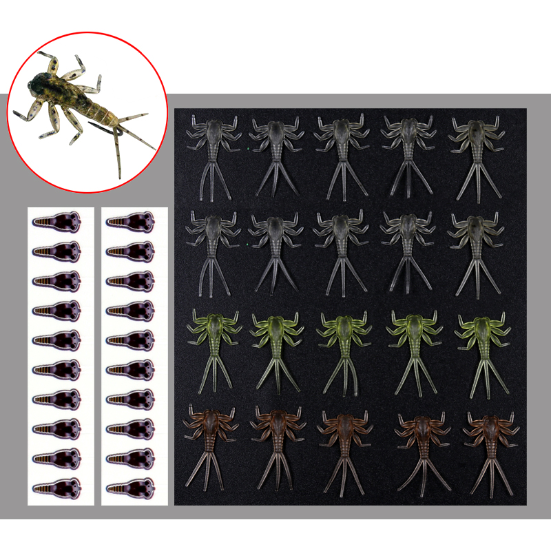 20PCS Realistic Mayfly Nymph Fly Tying Material Trout Fly Fishing Fly Tying for size 12 14 hook 5sheets pack 10cm x 5cm holographic adhesive film fly tying laser rainbow materials sticker film flash tape for fly lure fishing