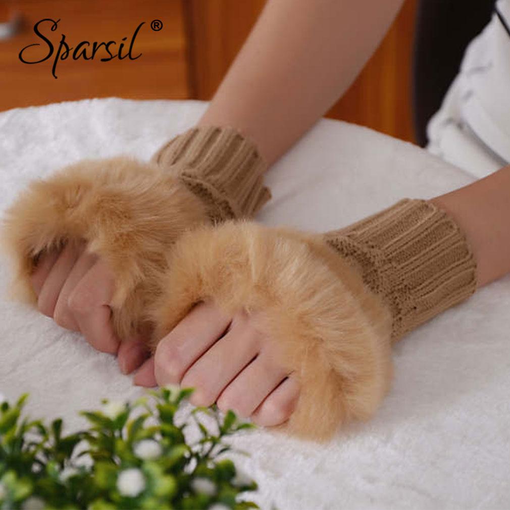 Sparsil Women Warm Gloves 15cm/20cm Autumn Winter Jacquard Knitted Fingerless Short Mitten Female Cute Soft Plush Elastic Glove