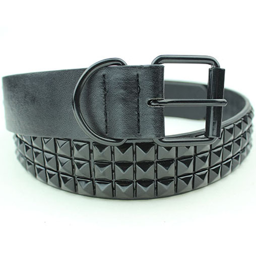 Sort Fashion Rhinestone Rivet Bælte Mænd & Kvinders Studded Belt Punk Med Pin Buckle Gratis Levering
