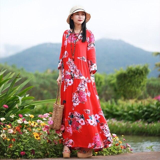 Hisenky Spring Fall Maxi Women Dresses Three Quarter Sleeve Floral Vestidos Long  Shirt Dress Mori Girl 6f23f1d9f3f1
