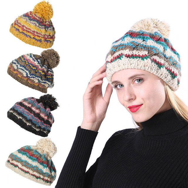 c8882207 Women Warm Hats fur ball cap pom poms Winter Hats For Women Wave Striped  Thick Knitted