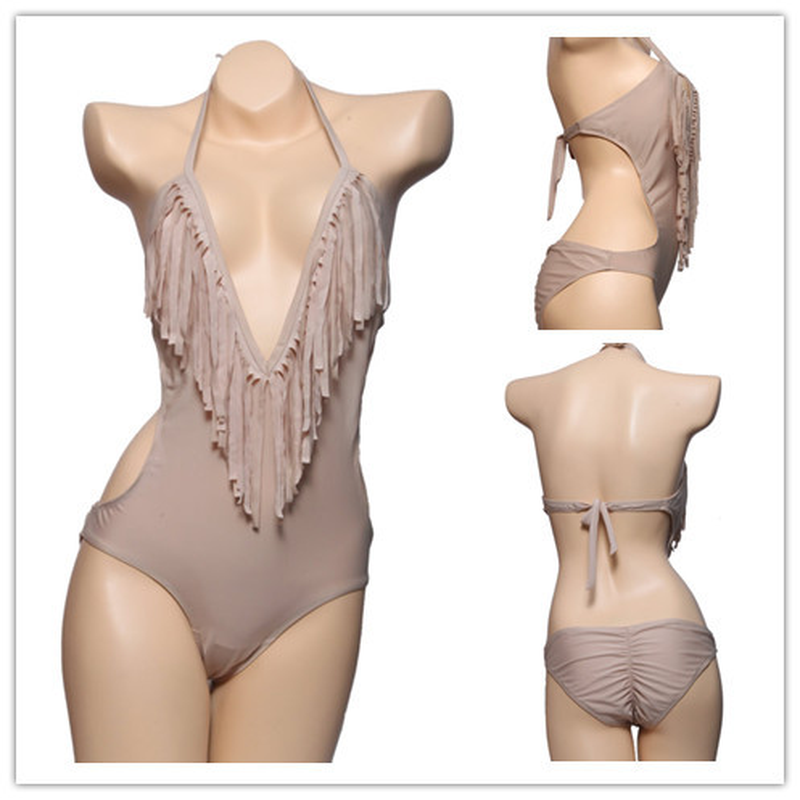2018 Sexy Backless Deep V Beach Jumpsuits Women Tassel Playsuit Sleeveless 3 Color Bodysuit