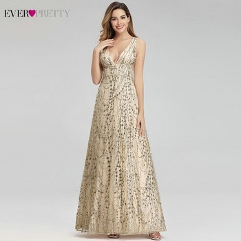 Sparkle Evening Dresses Long Ever Pretty A-Line V-Neck Sleeveless Sequined Saudi Arabia Formal Dress Vestidos De Fiesta De Noche elegant long chiffon dress women a line deep v neck sleeveless sparkle maxi dress ladies formal party dress vestidos de festa