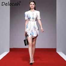 Delocah Women Spring Summer Dress Runway Fashion Designer Puff Sleeve Vintage Madonna Printed Slim Mermaid Mini Lady Dresses