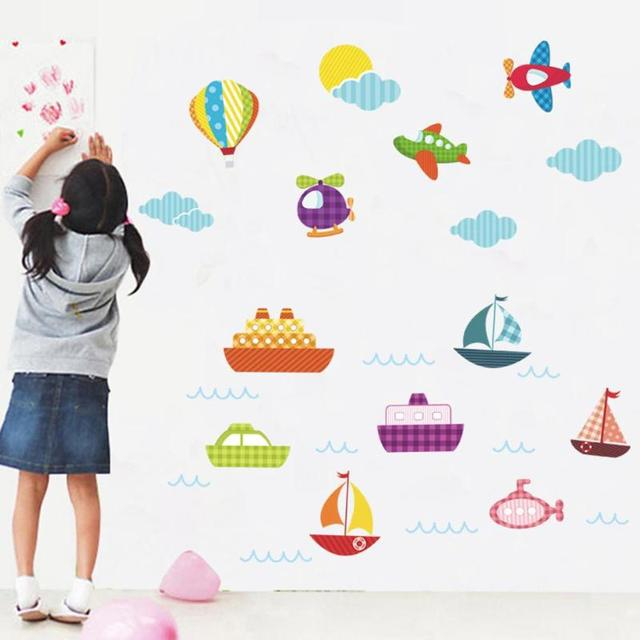Cartoon Hot Air Balloon Wall Stickers Kids Rooms Vehicles Wall Decals Art  Poster Photo Wallpaper Home
